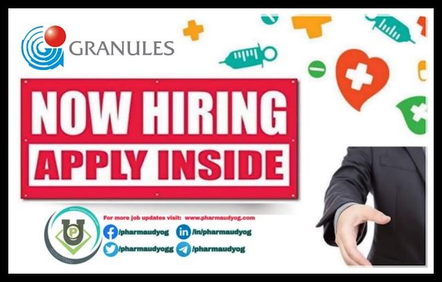 Granules India | Urgent requirement for MSc Freshers at Hyderabad | Send CV | Pharma Jobs