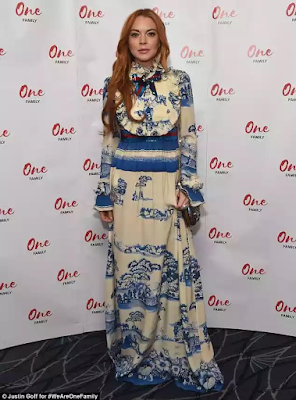 Lindsay Lohan steps out for London charity event dressed in £4040 Gucci dress