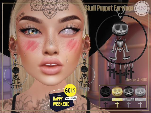 Skull Puppet Earrings @ Happy Weekend 60L$