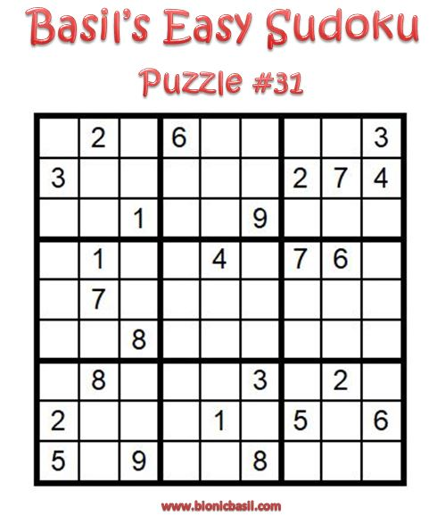 Basil's Easy Sudoku Puzzle #31 Brain Training with Cats ©BionicBasil® Downloadable Puzzle Fur Purrsonal Use Only