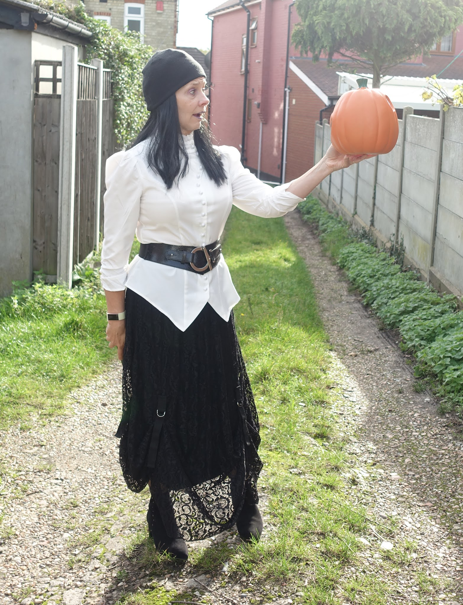 Alas poor pumpkin:  Is This Mutton style blogger Gail Hanlon with pumpkin in the Style Not Age Challenge Gothic Romance