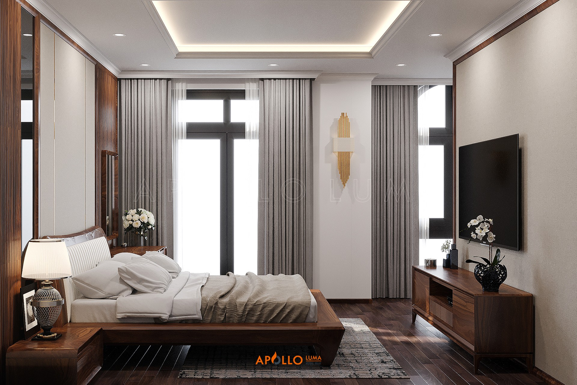 Thiết kế nội thất gỗ óc chó phòng ngủ đẹp và sang trọng