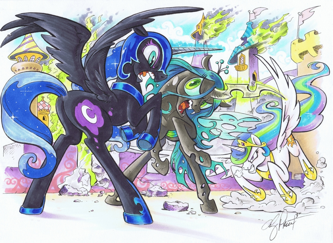 quotNightmare Moon Celestia and Chrysalis Fightingquot by Andy