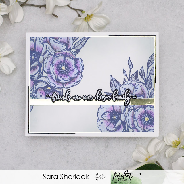 """Handmade Card, created with Picket Fence Studios new stamp set """"Watercolor Roses"""".  Pencil coloring done with Polychromos pencils.  Also featuring """"Fancy Friendship Sentiments"""" stamp set, and coordinating dies."""