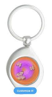 Butterfly Ripples digital art orange pink rings Keychain