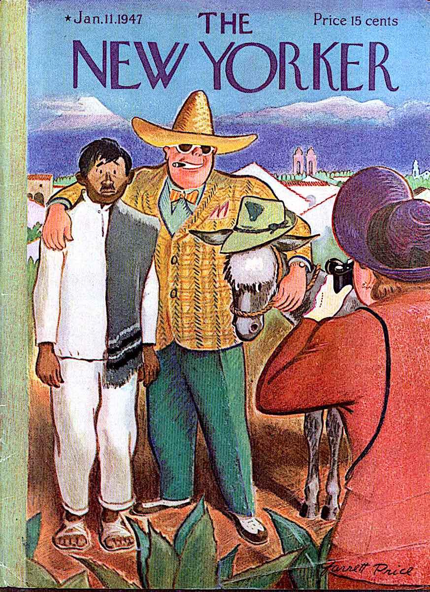 a Garrett Price illustration for The new Yorker Magazine 1947, pushy American tourists