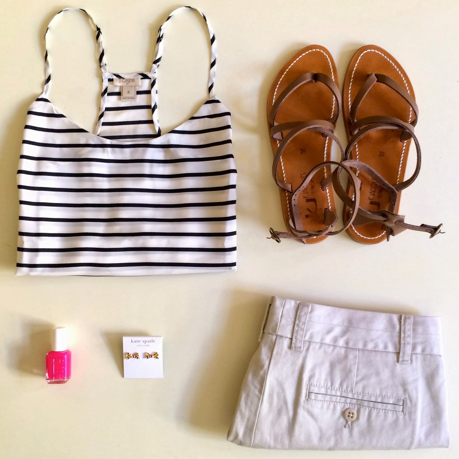e0cec4091a11 J.Crew Factory Racerback Stripe Top    K. Jaques Epicure Sandals (I wear an  8.5 in most Tory Burch and Jack Rogers