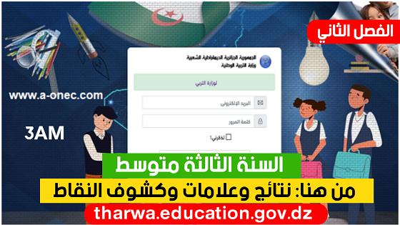 نتائج كشف نقاط الفصل الثاني عبر موقع فضاء أولياء التلاميذ 2021 - معدلات ونتائج tharwa.education.gov.dz - السنة الثالثة متوسط