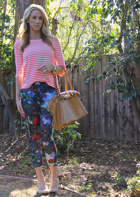floral pants striped top