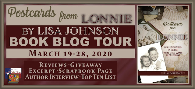 Postcards from Lonnie book blog tour promotion banner
