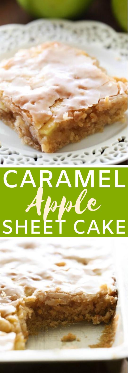 Caramel Apple Sheet Cake #desserts #cake #baking #recipes #fall