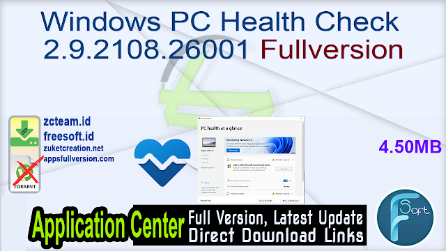 Windows PC Health Check 2.9.2108.26001 Fullversion
