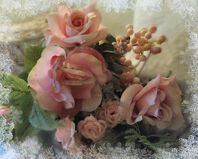 christmas frosty glitter roses decorations