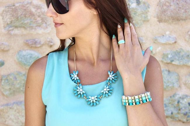 zeleno plavi nakit, mint ogrlica narukvica i prsten