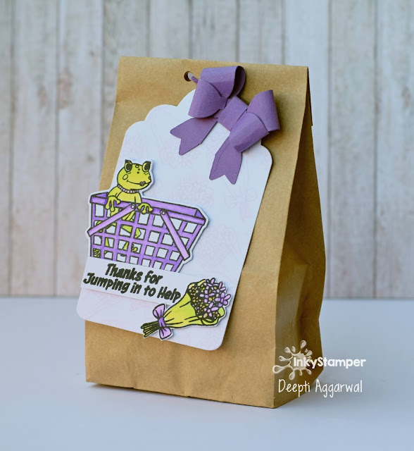 Kraft gift bag with handmade Thank you Tag
