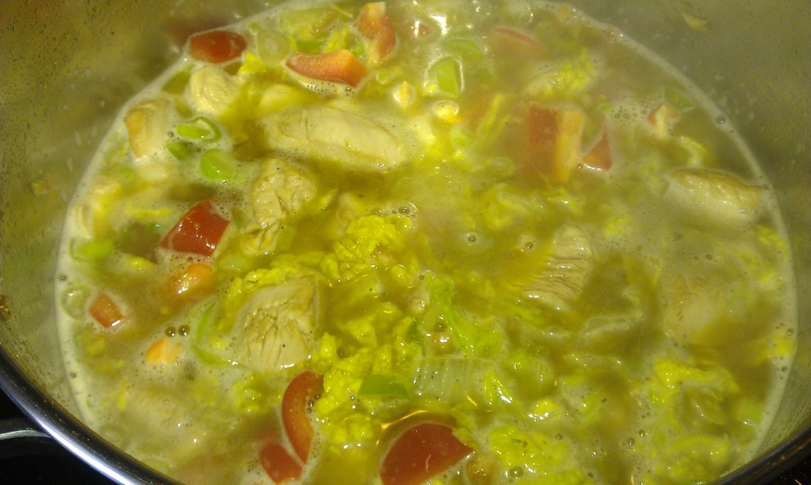 kyllingsuppe med kokosmelk og curry paste