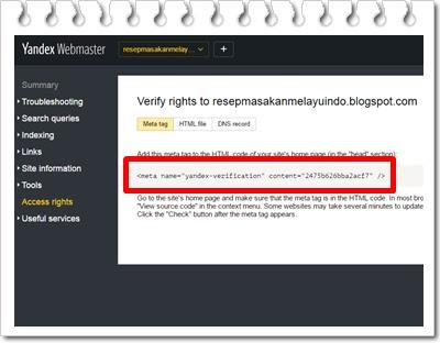 Cara daftar Blog ke Yandex