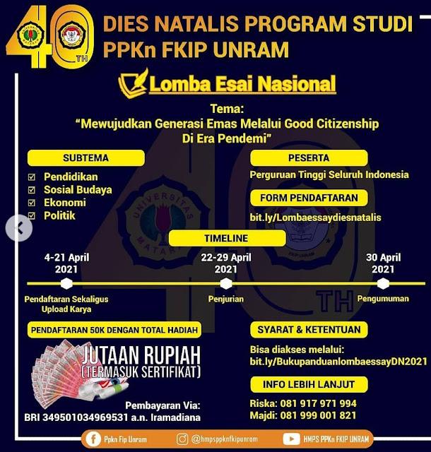 Lomba Esai Nasional Tingkat Mahasiswa dan Lomba Video Kreatif Tingkat Umum