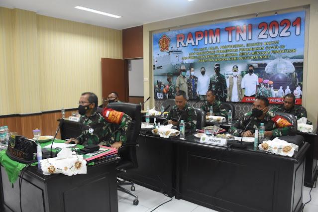 Kodam XVIII/Kasuari Ikuti Rapim TNI TA 2021 Secara Virtual