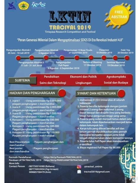 Lomba Karya Tulis Ilmiah Nasional TRACIVAL 2019 di Untirta