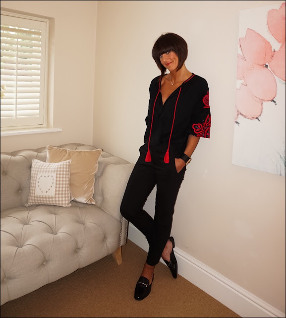 My Midlife Fashion, Zara embroidered sleeve top, cigarette pants, backless loafers