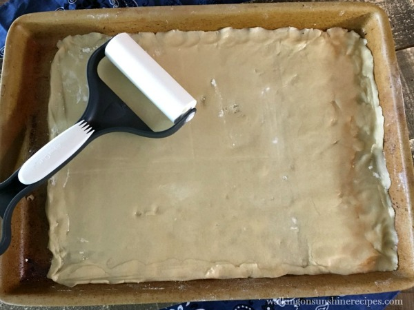 Sugar Cookie Dough in Baking Pan for Flag Fruit Sugar Cookie Pizza