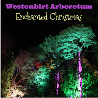 Westonbirt Arboretum lit in different colours, with title overlaid