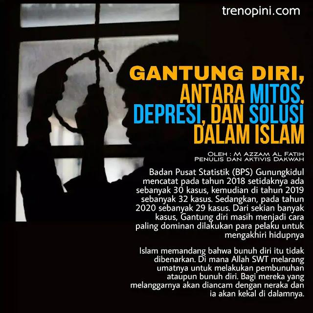 Islam memandang bahwa bunuh diri itu tidak dibenarkan. Di mana Allah SWT melarang umatnya untuk melakukan pembunuhan ataupun bunuh diri. Bagi mereka yang melanggarnya akan diancam dengan neraka dan ia akan kekal di dalamnya.