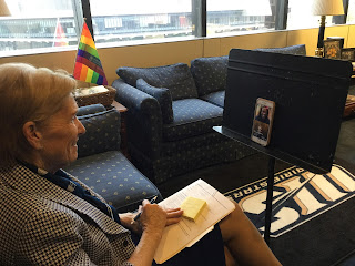 Chancellor Koch on a Zoom call with Marie Watson