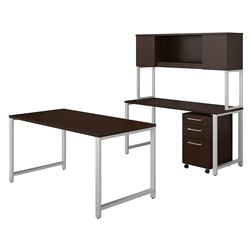 Bush 400 Series Desk with Hutch and Credenza