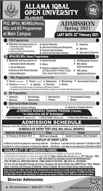 (AIOU) Allama Iqbal Open University Islamabad Admission 2021: for PhD, MPhil, MS/MSc (Hona). jobspk14.com