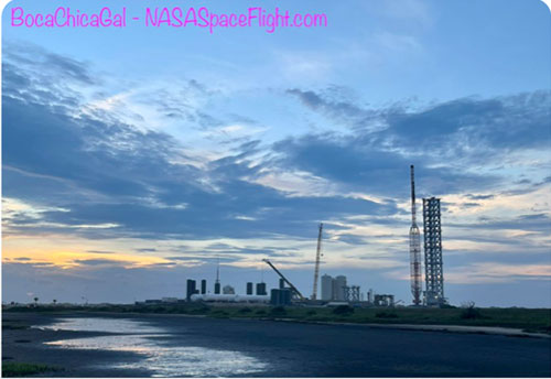 Beautiful view of SpaceX Boca Chica launch site and orbital tower (Source: @BocaChicaGal)