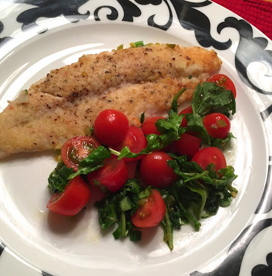 Points In My Life: Low-Point Pan-Fried Fish with Wilted Arugula Salad