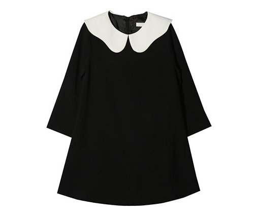 Wavy Contrast Collar Flared Dress
