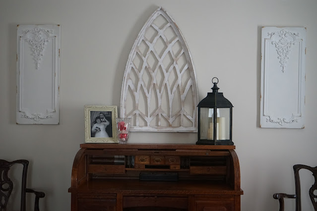 Gothic wall hanging over desk