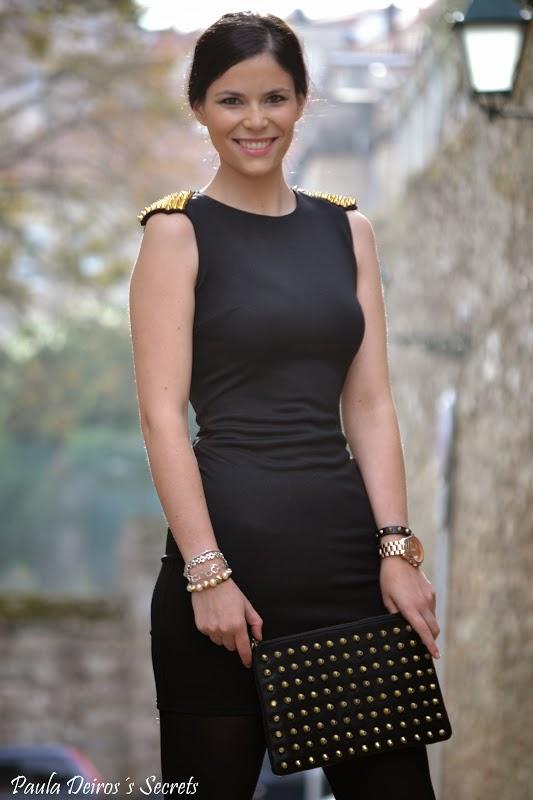 PAULA DEIROS SECRETS: Black Dress with Gold Shoulder Studs