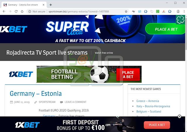 redirecciones a Sportstream.biz