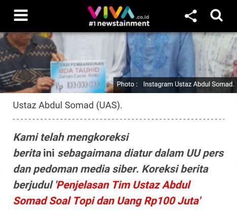 Viva Koreksi Pemberitaan soal Transfer 100 Juta ke Ustadz Abdul Somad