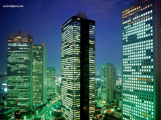 Три небоскреба на ночном фоне, Токио