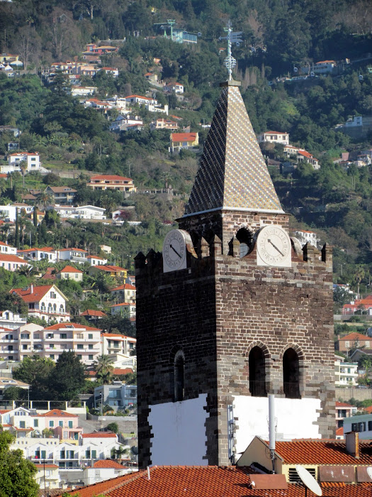Funchal cathedral tower and the mountain