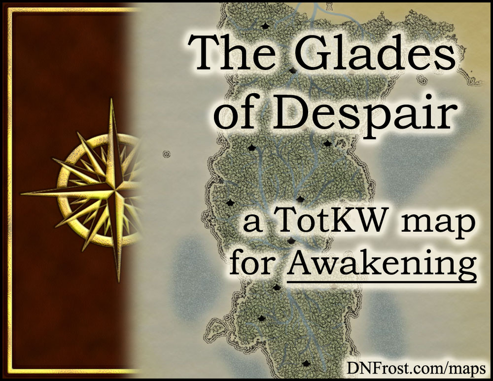 The Glades of Despair: a seething jungle of magic and nymphs www.DNFrost.com/maps #TotKW A map for Awakening by D.N.Frost @DNFrost13 Part 17 of a series.