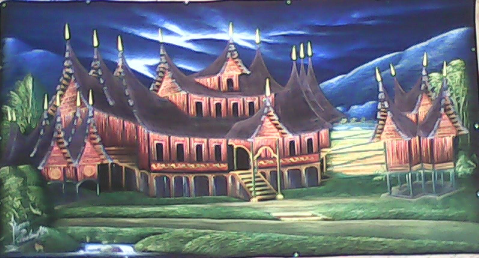 Gambar Lukisan Rumah Adat Minang Perum Klodran
