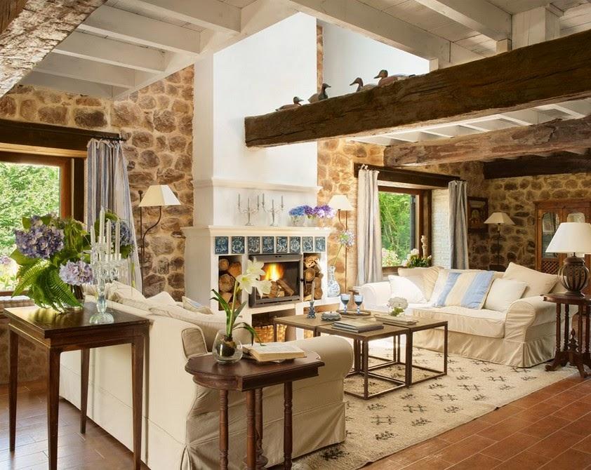 lovely deco murs en pierres et poutres apparentes pour cette belle maison de campagne. Black Bedroom Furniture Sets. Home Design Ideas