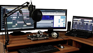 Sound equipment in studio depicting sound editing of voice overs.