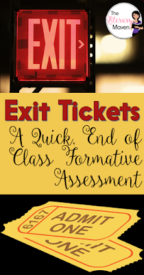 Using exit tickets at the end of class as a formative assessment helps you to plan and adjust the next day's lesson. Use one of these four standardized exit tickets, which can be used with any lesson in any subject area, or let students select one of the four to which to respond.