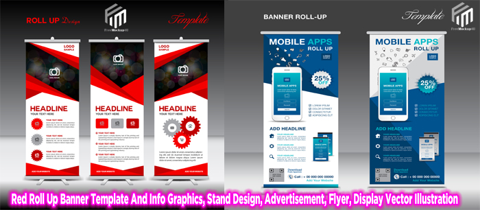 Roll Up Banner Info Graphics Stand Advertisement Flyer Display Vector Template