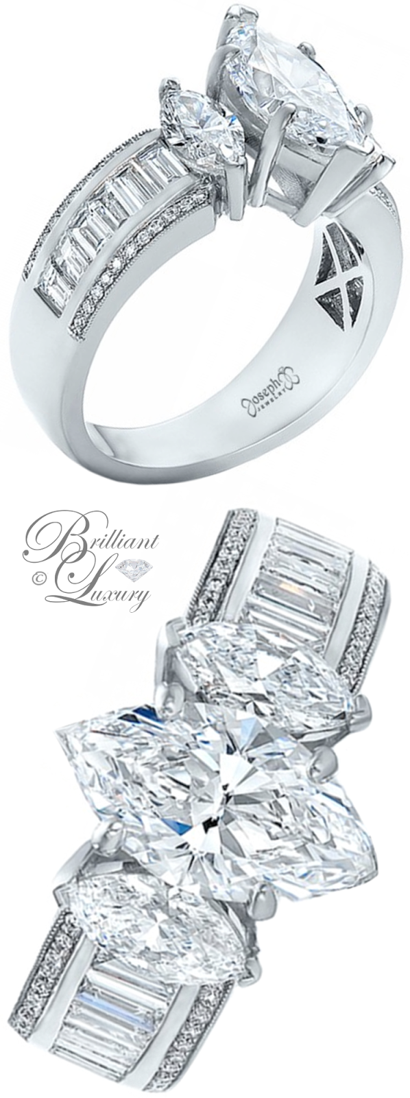 Brilliant Luxury ♦ Joseph Jewelry Custom Three Stone Marquise and Baguette Diamond Engagement Ring