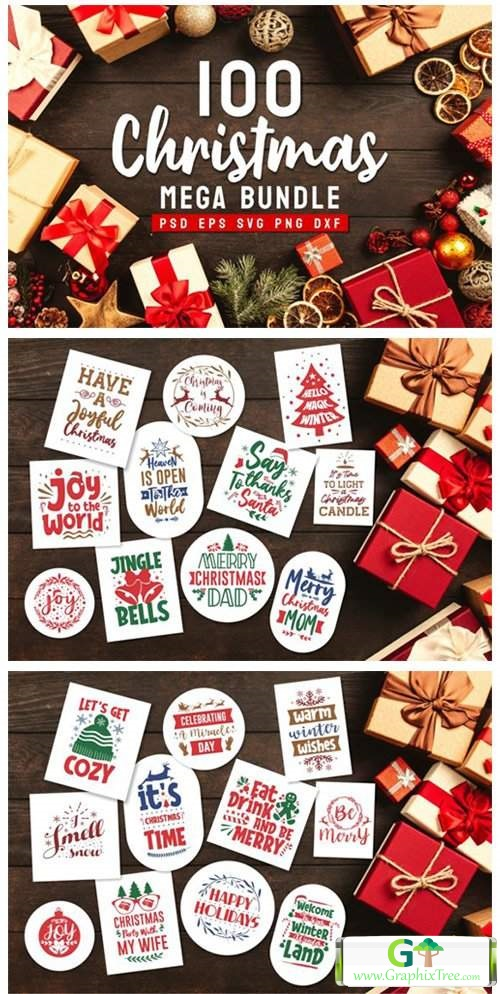 Christmas Bundle SVG Typography [Vector] [Holiday & Party]