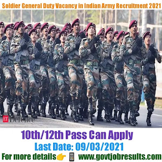 Soldier General Duty Vacancy in Indian Army Recruitment 2021