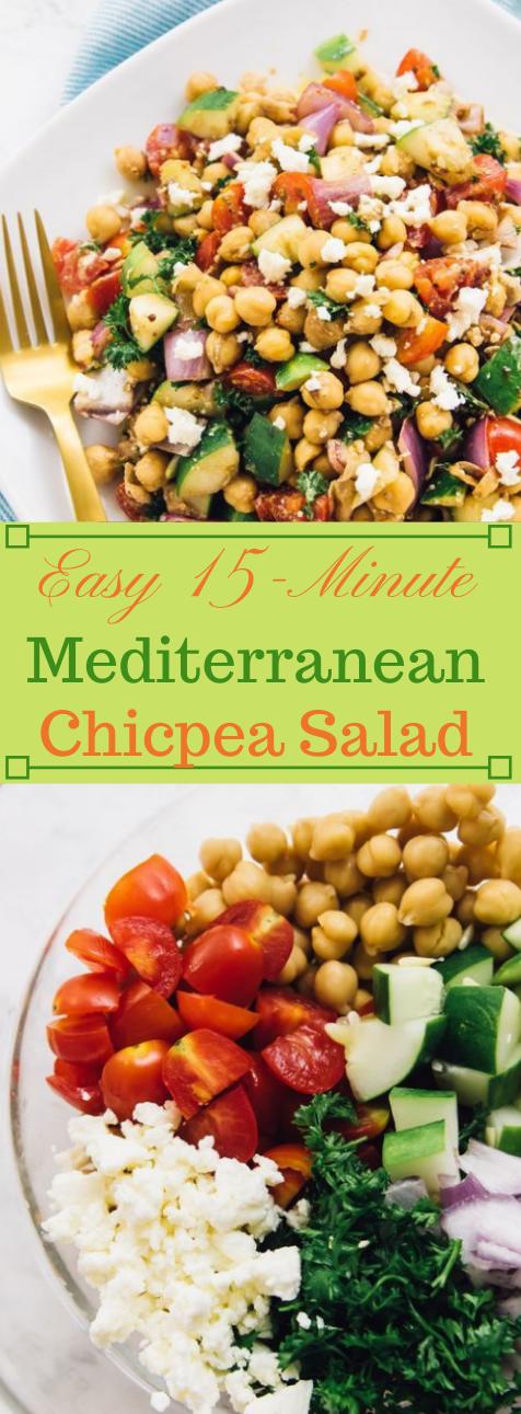 15-Minute Mediterranean Chickpea Salad #salad #healthy #healthydiet #chickpea #recipes